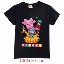 Novo verão dos desenhos animados pocoyoe imprimir camiseta engraçado menino topos bonito roupas da menina do bebê das crianças de manga curta t camisa dos miúdos