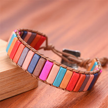 Handmade Bracelet Jewelry Multicolor Natural Stone Tube Beads Leather Wrap Couples Bracelets Creative Gifts