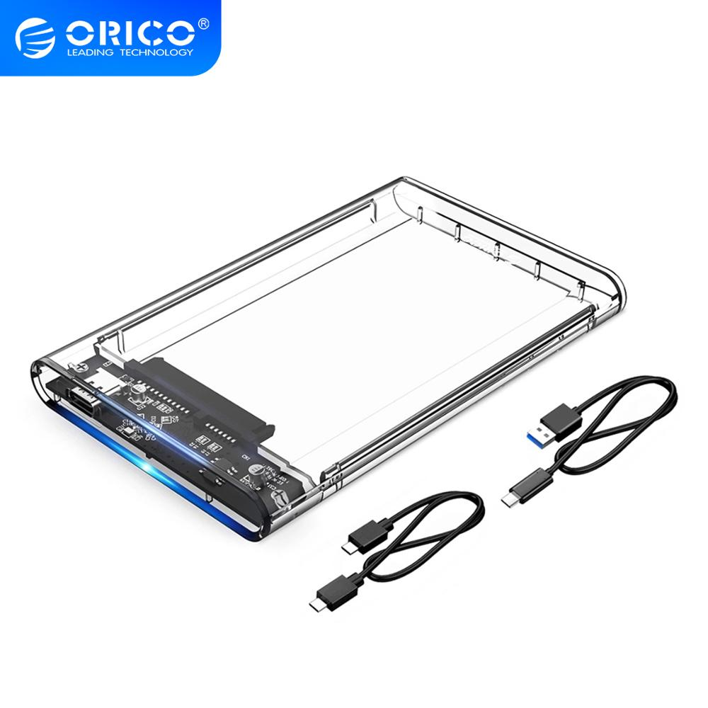 ORICO Type C 2 5   Transparent HDD Case USB3 1 Gen2 10Gbps Hard Drive Enclosure Support UASP Protocol With Type-C to C Cable