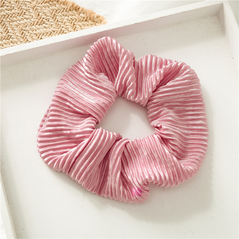 1PC Solid Color Satin Wrinkle Scrunchie Elastic Hair Bands Women Girls Sweet Red Pink Ponytail Holder Hair Ring Hair Accessories