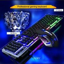 Teclados E Mouse Inglês RGB Luz LED Iluminado Ergonômico Retroiluminado Gaming Keyboard Mecânica Semelhante Para PC Gamer