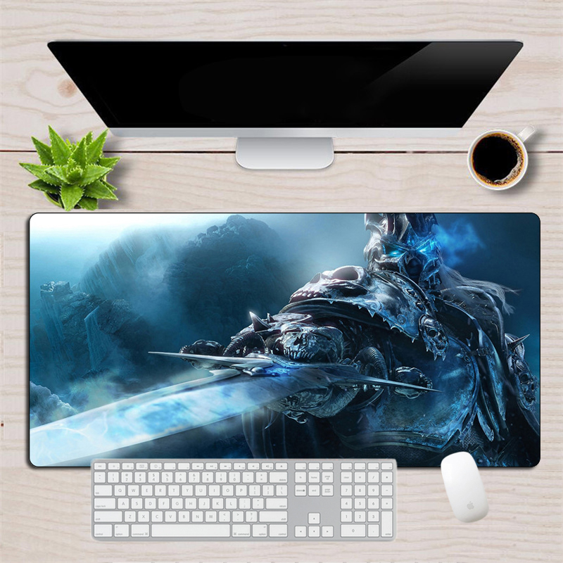 Large Wrath Of The Lich King Gaming Mouse Pad Gamer XL Rubber Durable Locking Edge MousePad World Of Warcraft Computer Desk Mat