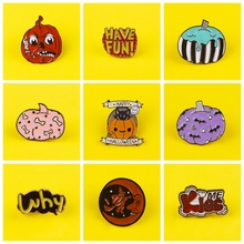 Happy Halloween Badges on Backpack Cartoon Pumpkin Brooches Clothes Lapel Pin Enamel Pins for Backpacks Badges for Clothes Badge prajna halloween pins badges for clothes on backpack stripe pink purple pumpkin pin badge zinc alloy cartoon badges metal