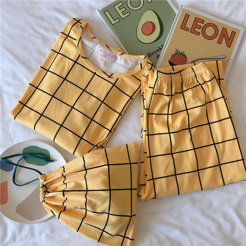 2020 New Style Plaid Cloth Bag Pajamas Women's Spring Long Sleeve Storage Bag Pajamas Three-piece Set Southeast Asia
