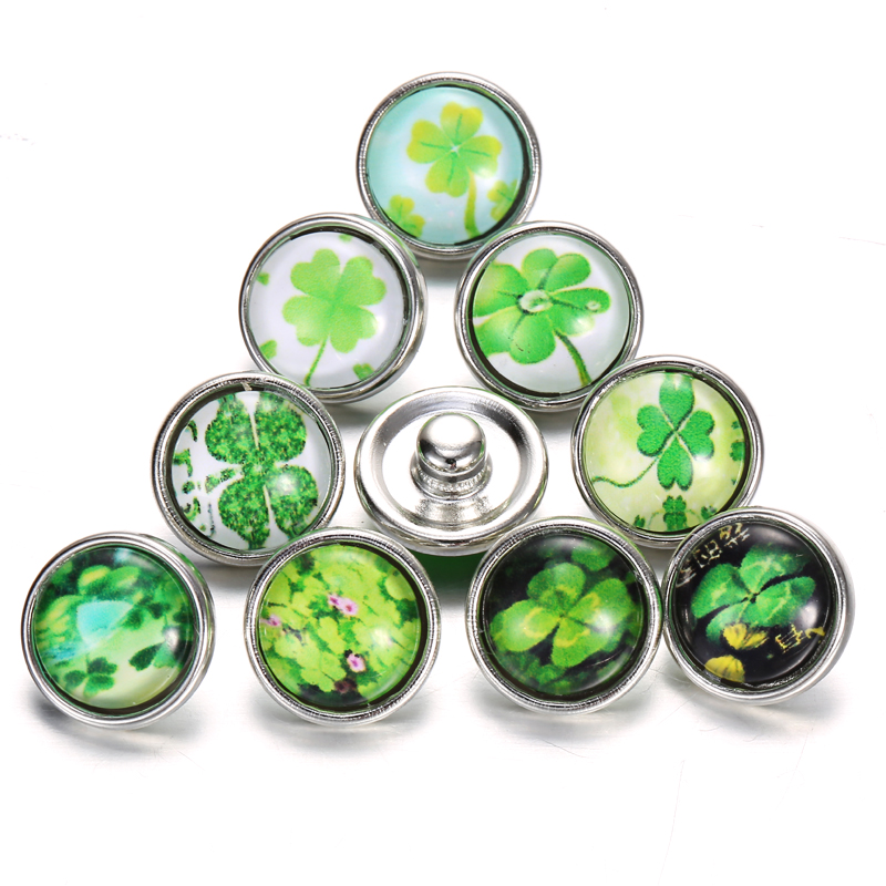 10pcs/lot <font><b>Snap</b></font> <font><b>Jewelry</b></font> Clover Round Glass <font><b>12mm</b></font> <font><b>Snap</b></font> <font><b>Buttons</b></font> <font><b>Jewelry</b></font> For Women <font><b>Snap</b></font> Bracelets image