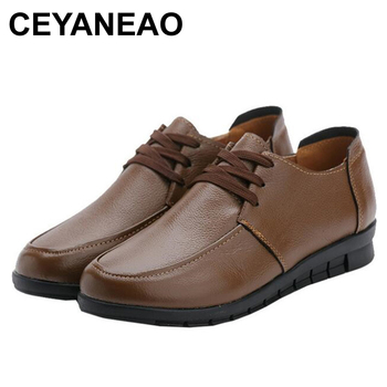 CEYANEAOTop quality spring autumn fashion genuine leather shoes woman casual lace-up flat shoes comfortable non-slip women