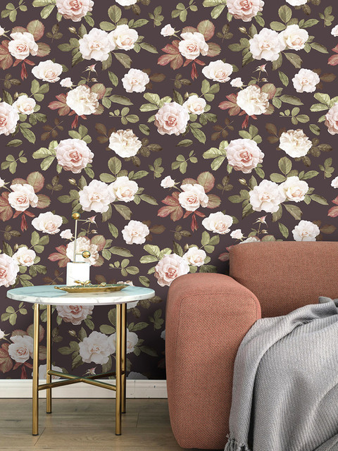 Retro Peony Floral Peel and Stick Wallpaper Removable Brown Green White Red Vinyl Self Adhesive
