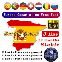 Europa najbardziej stabilny Cccam dla hiszpanii portugalia niemcy 3 linie obsługują cccams satelitarny odbiornik tv set top HD 48h darmowy test