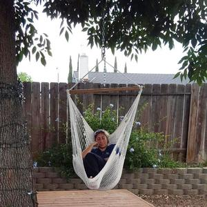 Image 5 - ALLOET Large Cotton Rope Net Hammock Chair Portable Outdoor Camping Hanging Sleeping Bed Indoor Adult Children Kids Swing Chair
