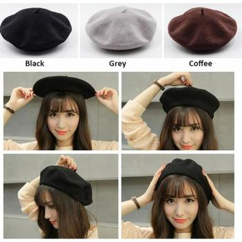 Spring Autumn Winter Knitted Women Hat Warm Wool Beret Winter Hat Solid Color Hats Berets Caps for Women Girls solid soft winter pompoms hats for women knitted hats for girls wool big ball caps casual black beanies warm hat gorrses