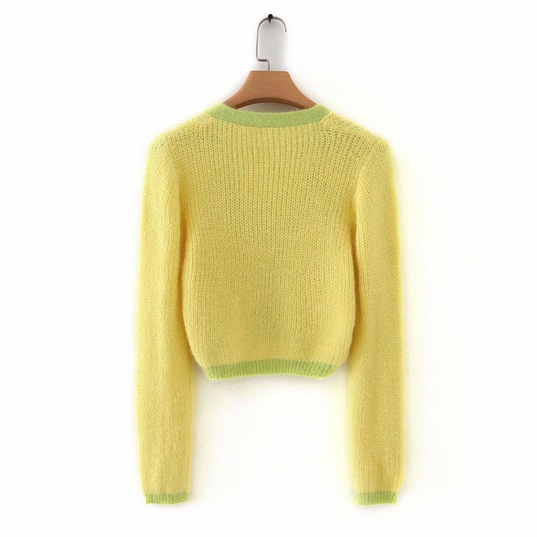 Pink cardigan womens sweaters korean crop sweater yellow autumn tops short sleeve v neck short cardigan mohair sweater fall 19 23