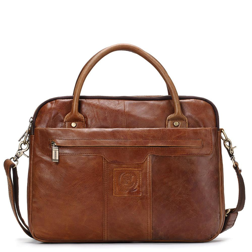 2019 Genuine Leather Briefcase Handbag 14 Inch Computer Bag Crazy Horse Leather Business Briefcase Simple Practical Business Bag