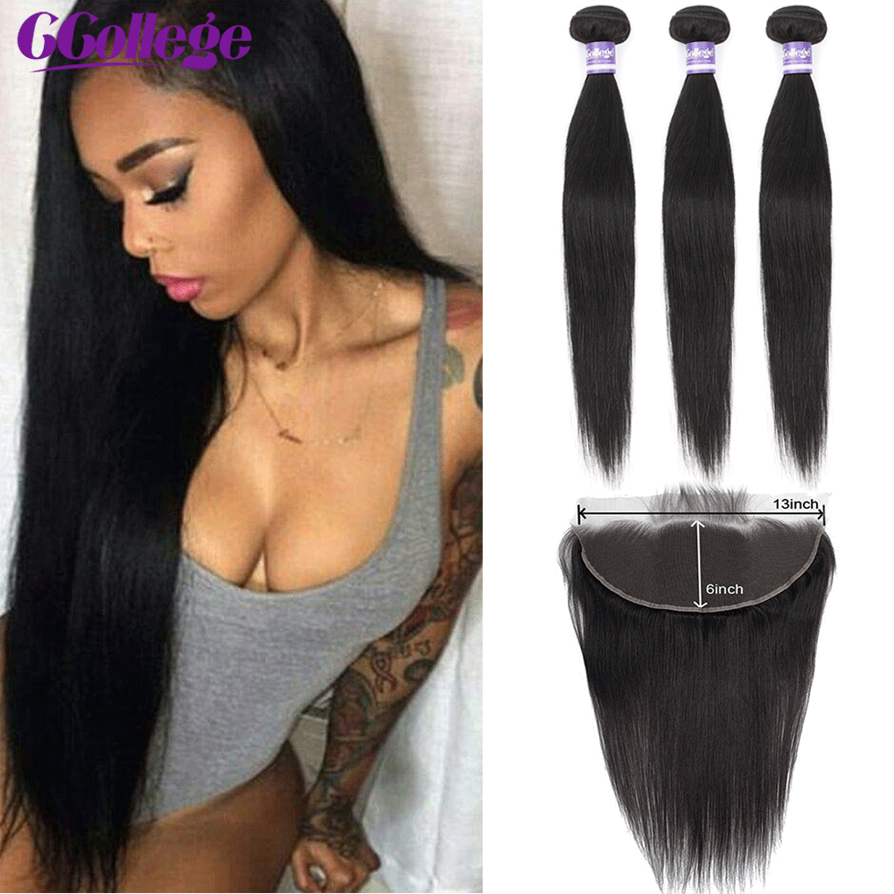 Pre Plucked 13x6 Lace Frontal Closure With Bundles Brazilian Straight Human Hair 3 Bundles With Frontal Closure Non Remy Hair