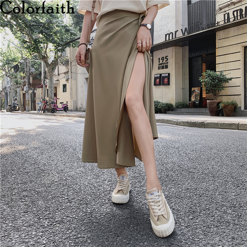 Colorfaith 2020 Women's One Piece Skirts Summer 11 Colors Casual Lace Up High Waist A-Line Sexy Fashionable Long Skirts SK7967