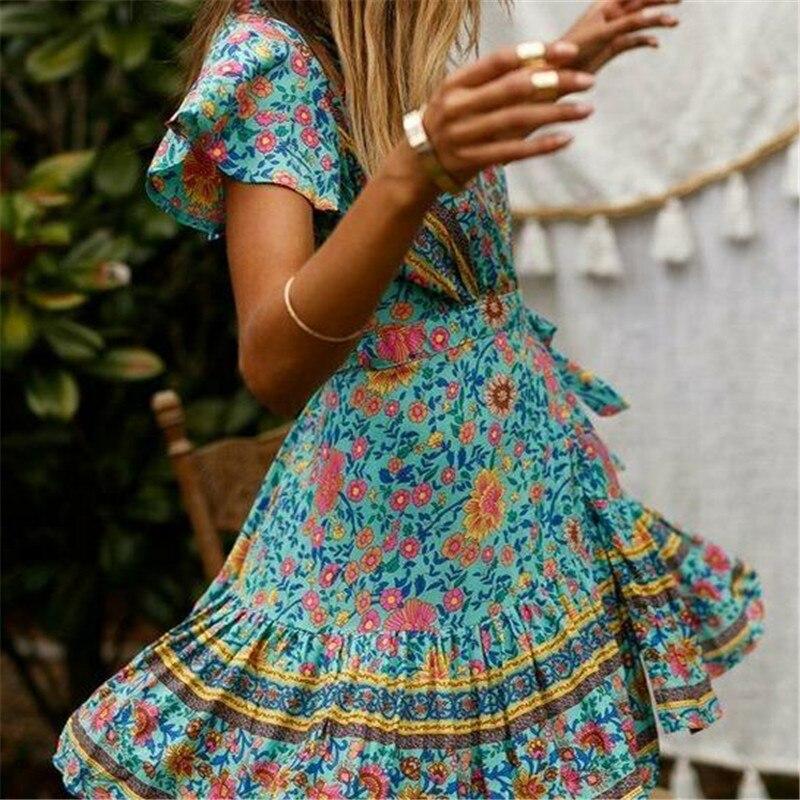 Women's Summer Wrap V Neck Bohemian Floral Print Ruffle Swing A Line Beach Mini Dress 2