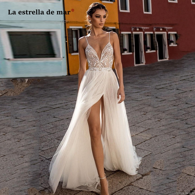 Beach Wedding Dresses Side Split Spaghetti Sexy Illusion Boho A-Line Wedding Dresses Pearls Backless Bohemian Bridal Gowns