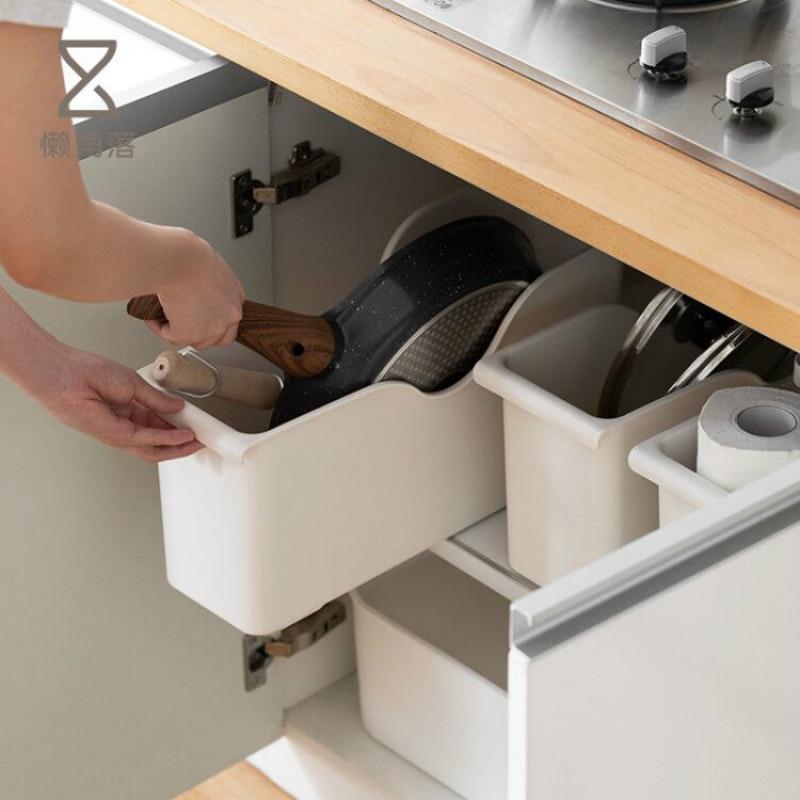 Household Kitchen  Pot Rack Shelf With Pulley Plastic Pot Storage Rack Spice Storage Shelf Pf8304