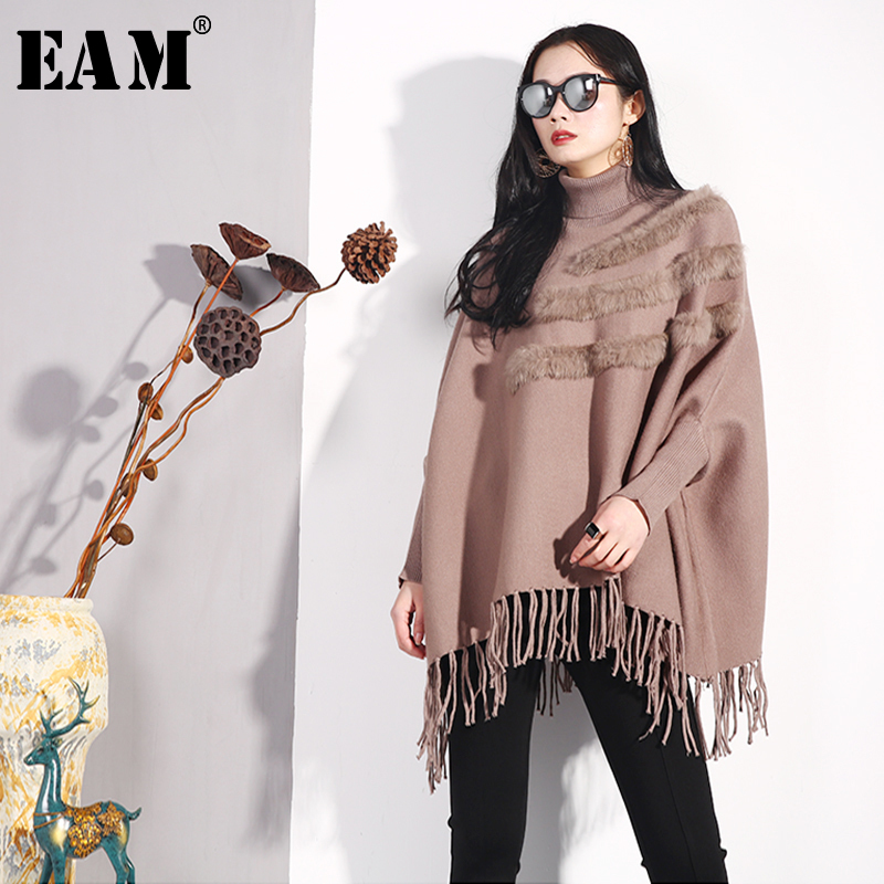 [EAM] 2019 New Spring V-collar Long Sleeve Black Lace Temperament Hit Color Stitch Loose Knitting Sweater Women Fashion JO653