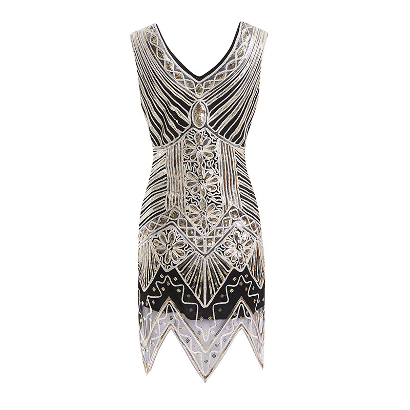 Top Grade EBay Amazon Hot Selling Sequin Hand-woven Formal Dress 1920 Vintage Sequins Dress Real Object Figure