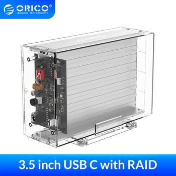 ORICO 3.5'' Dual Hard Drive Enclosure with RAID 0 1 PM SPAN Transparent SATA HDD Case with 24TB Capacity 12V3A Power Adapter