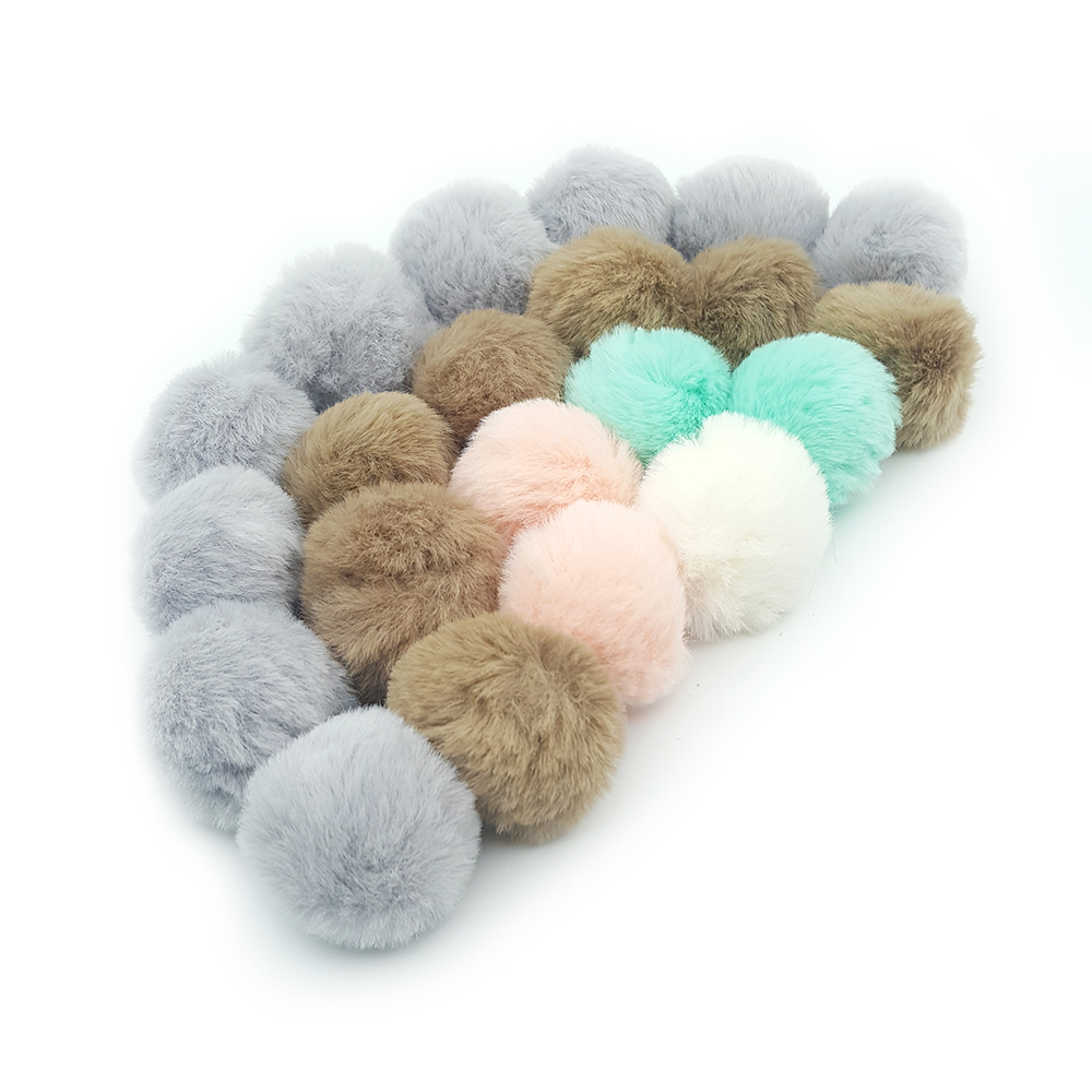Lavida F37 4pcs 4cm Faux Mink Rabbit Fur Ball PomPoms With Loop/DIY Necklace Earring Clothing Hats Materials/jewelry Accessories