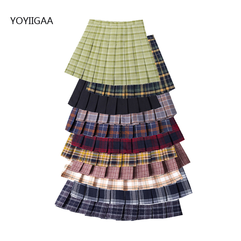 Women Pleat Skirts 2020 Summer Sweet Women's Plaid Skirt High Waist A-Line Ladies Mini Skirts Fashion Chic Girls Short Skirt
