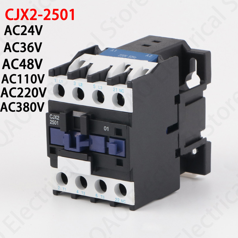 LC1D AC Contactor CJX2-2501 25A NC 3-Phase DIN Rail Mount Electric Power Contactor 24V 36V 110V 220V 380V