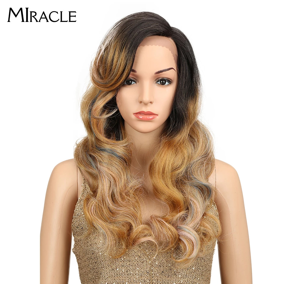 Miracle Heat Resistant Synthetic Wigs For Women Natural Long Wavy Wig With Bangs 24