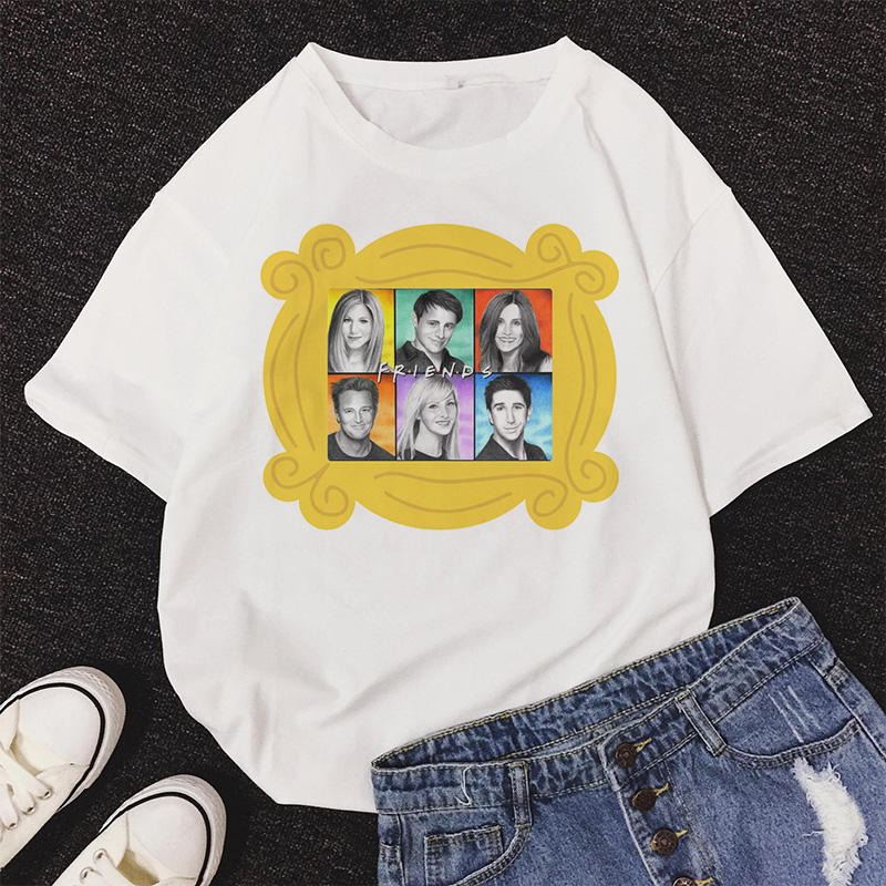 <font><b>6</b></font> good friends TV series friends Letter Print T-<font><b>Shirt</b></font> Harajuku T <font><b>Shirt</b></font> Women Summer Short Sleeve Casual Clothing Punk Top tshirt image