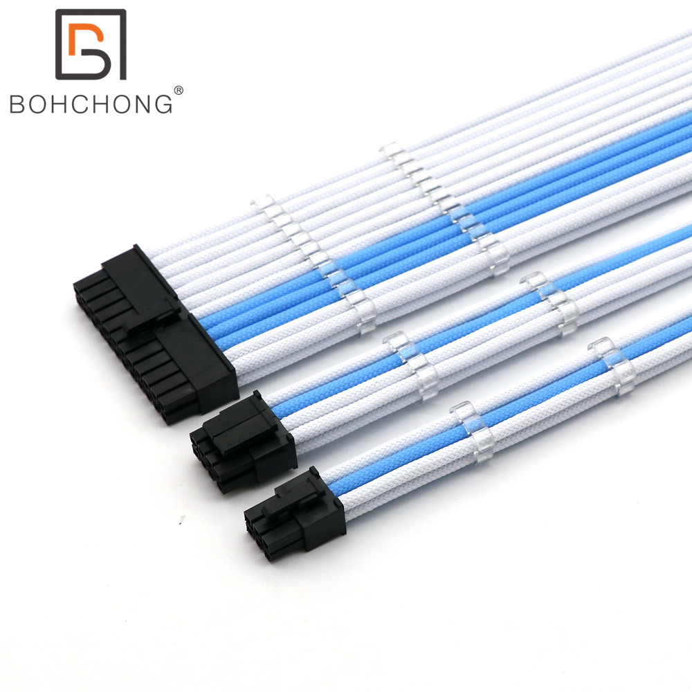 Basic Extension <font><b>Cable</b></font> Kit 4mm 1pcs <font><b>24Pin</b></font> ATX 1pcs CPU 8Pin 4+4Pin 1pcs GPU 6Pin PCI-E Power Extension <font><b>Cable</b></font> image
