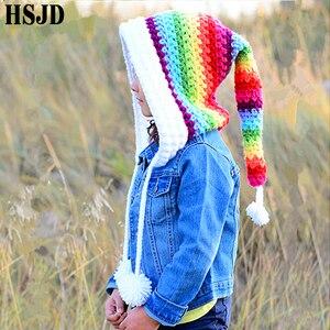 Image 4 - Çocuklar kış şapka el yapımı tığ işi Elf bere şapka çocuk sıcak örme gökkuşağı yanlış yaka Elf şapka kapşonlu kap erkek kız noel kap