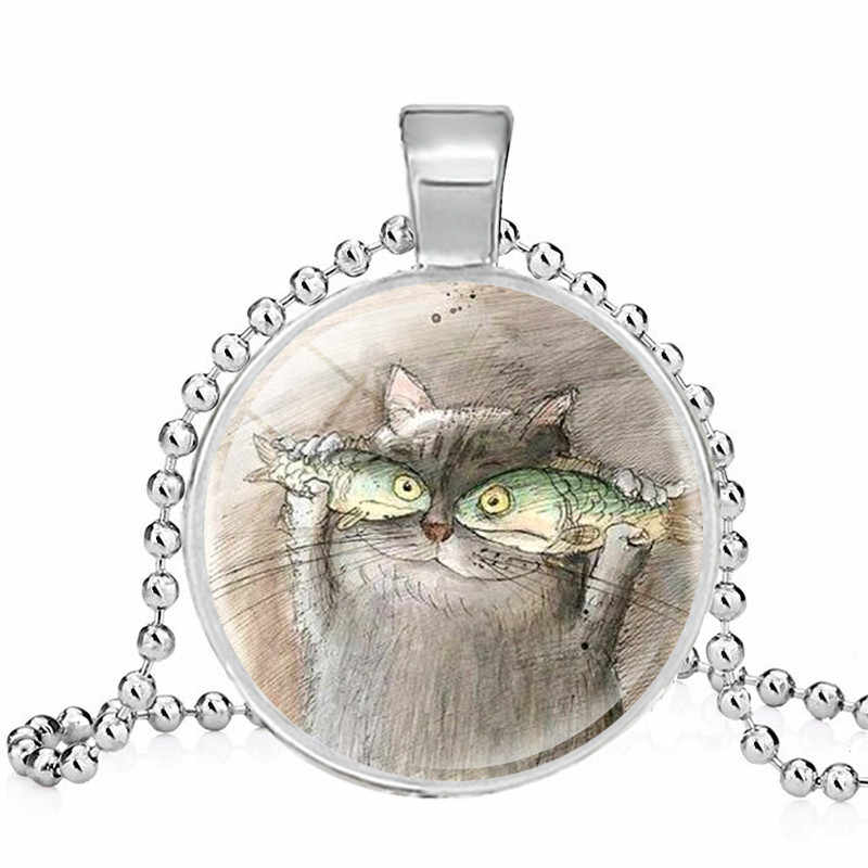 Kucing dan Ikan Bros Pernyataan Buatan Tangan Fashion Ransel Pin Kucing Makan Ikan Art Printing Perhiasan Jilbab Pin