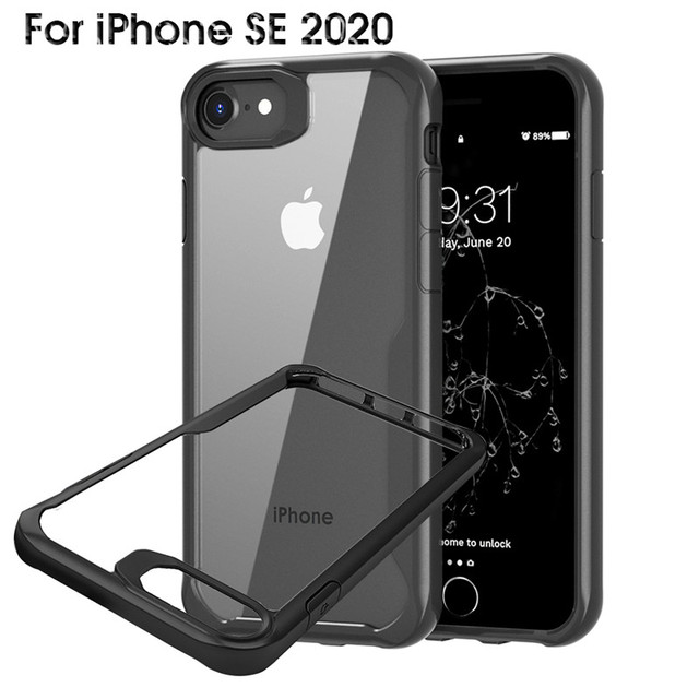 Slim Case For iPhone SE 2020 se 2 se2 se2020 Case Transparent Shockproof TPU+PC Protective Cover For iPhoneSE2 4.7'' Case Clear