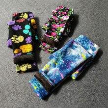 Velvet Pants Leggings Trousers Flowers Leopard Girl Vintage Warm Thick Winter Children