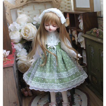 BJD doll dress green color doll dress + hair band for 1/3 1/4 1/6 BJD SD DD Blyth doll dress doll accessories only clothes [wamami] 701 3pc blue flower clothes dress suit 1 6 sd dz bjd dollfie