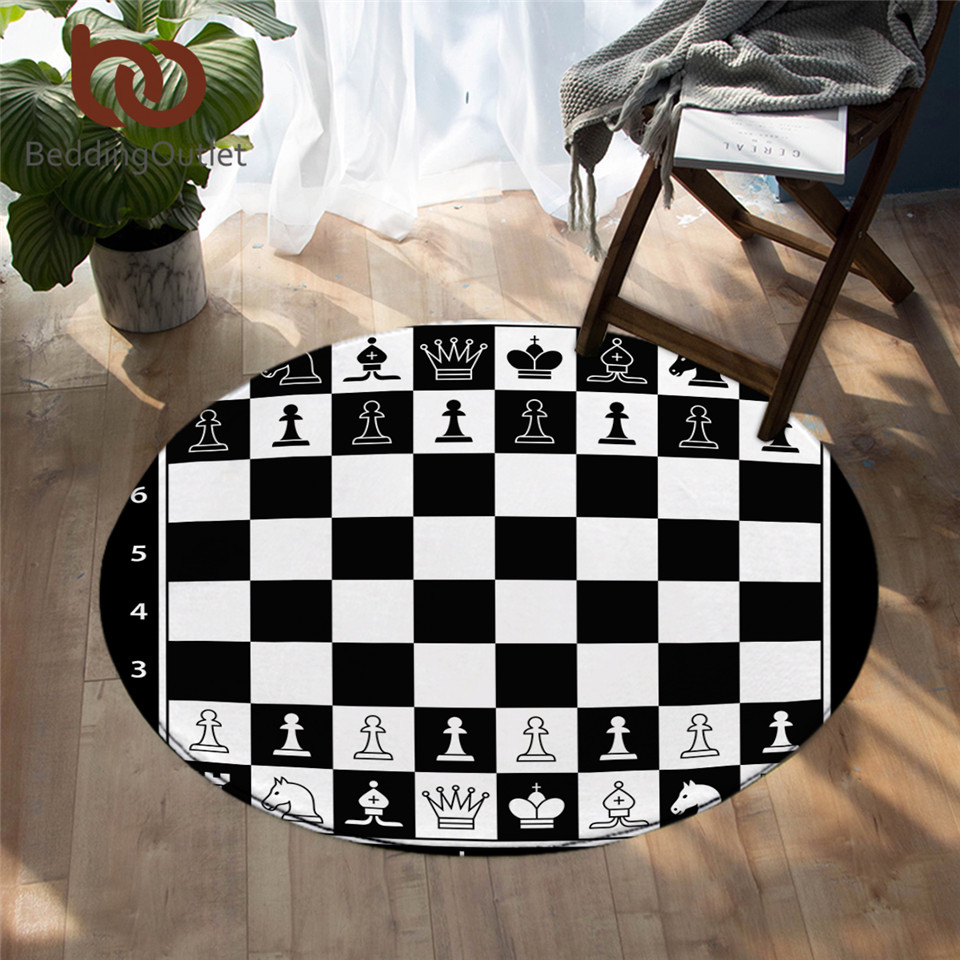 BeddingOutlet Chess Board Bedroom Carpets Games Round Area Rug For Bedroom Black And White Floor Rug Squares Kids Play Mat 150cm