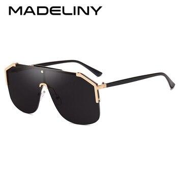 MADELINY nuevas gafas de sol cuadradas de gran tamaño para mujer, gafas de sol planas de diseño de marca, gafas de sol de una pieza para hombre, Vintage gradiente de gafas MA155