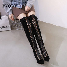 BYQDY Spring Autumn Lacing Over-the-Knee High Boots Women Fashion Black Thin Heel Woman Leather Shoes For Girlfriend botas muje