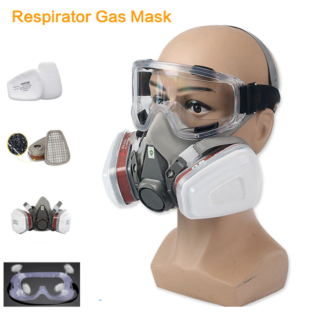 Half Face Respirator Gas Mask Activated Carbon Dust Mask 6200 Painting Spraying Welding Anti Pollution Safety Work Virus Mask