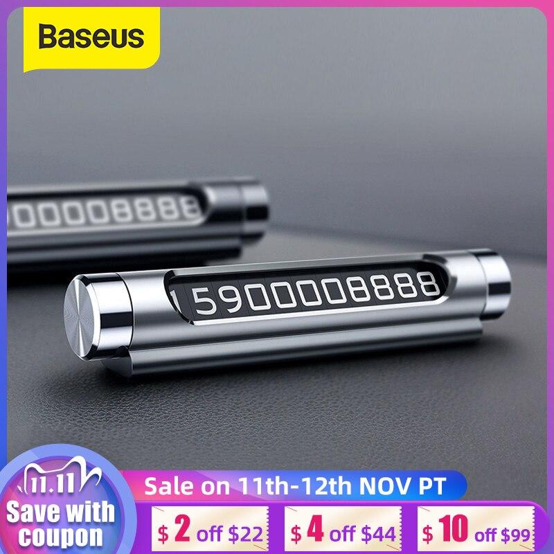 Baseus Mini In Metallo da Auto di Parcheggio Temporaneo Luminoso Commutabile Doppio Numero di Telefono Adesivi Per Auto Targa Auto-Styling