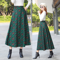 Fashion Printed High Waist A Word Skirt Autumn and Winter New Comfortable Woolen Skirt Women Bohemian Clothes Green Red
