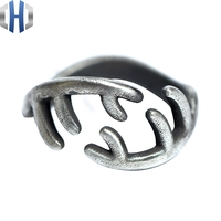 22mm Original Design Handmade Silver Personalized Antler Ring 925 Silver Simple Open Vintage Ring