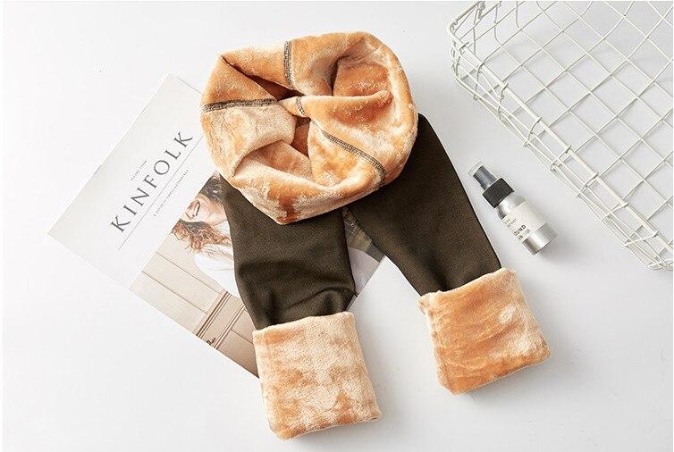 NEW CHRLEISURE Thick Velvet Leggings Women High Waist Through The Meat Warm Casual Pants Women Slim Winter Elasticity
