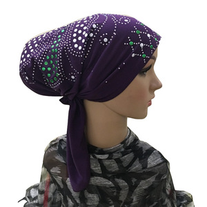 Image 3 - Muzułmanin pod szalikiem kości Bonnet kobiety wewnętrzna czapka Rhinestone hidżab Underscarf indyjski rak czepek dla osób po chemioterapii szal muzułmański utrata włosów kapelusz