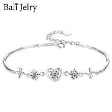 BaliJelry Trendy kobiety bransoletka ze srebra próby 925 biżuteria w kształcie serca Sapphire ametyst kamień akcesoria ślub prezent zaręczynowy