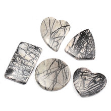 5Pcs Natural Stone Elegant Semi-Precious Network Stones Pendants Temperament Making for Jewelry Necklace Accessories Gift
