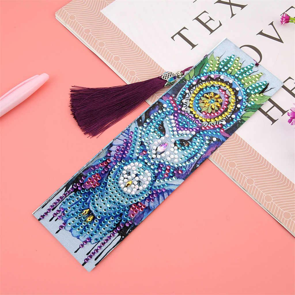Kits de pintura de diamantes de cristal, marcapáginas de borla, DIY, artesanía, suministros escolares de oficina