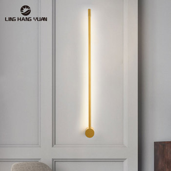 Minimalist Led Wall Lamp Living Room Bedroom Line Wall Light Personality Corridor Aisle Wall Lights Indoor Home Lighting Fixture quality brass globe glass wall sconce copper glass wall lamp fixture minimalist bedroom corridor living room indoor decoration