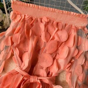Image 5 - Vestito Delle Donne di Modo Del Fiore Tridimensionale Bolla Del Manicotto Dei Tre Quarti Chiusura Vita Slash Collo Elegante di Colore Solido del Vestito Abiti