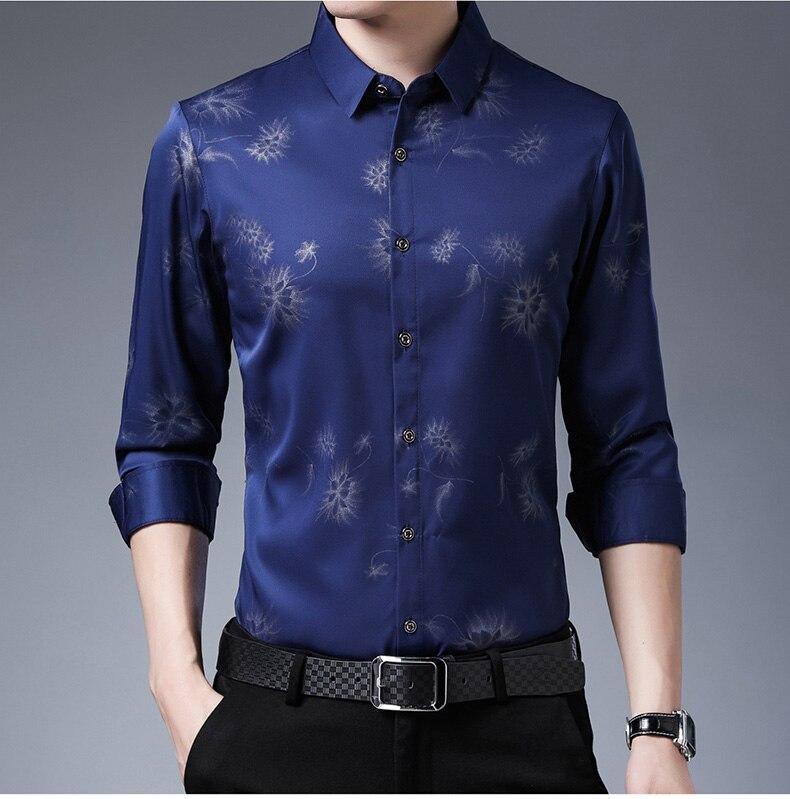 He26ca8ce3f694f41a6132946f44febf7h 2020 Brand Long Sleeve Men Social Shirt Streetwear Casual Dandelion Shirts Dress Mens Slim Regular Fit Clothes Fashions 80503